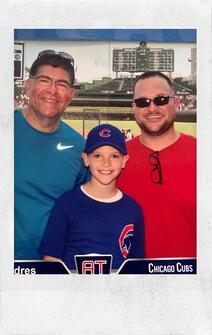 Bob Parrish with son and father at cubs game